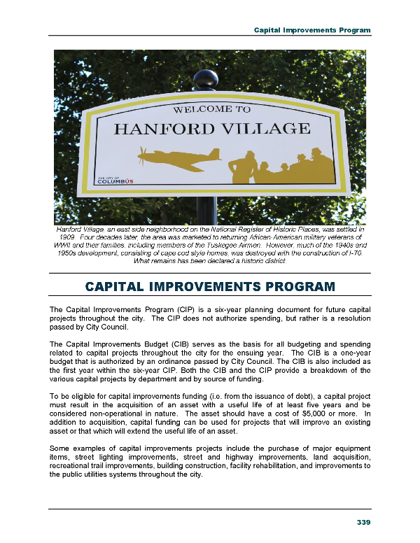 budget analysis capital improvement program Capital improvement program table of contents  ning, budget analysis, and project implementation are therefore critical  to understand the relationship between the capital improvement budget (cib) and the capital improvement program (cip) the capital improve.
