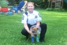 Officer with Saved Dog