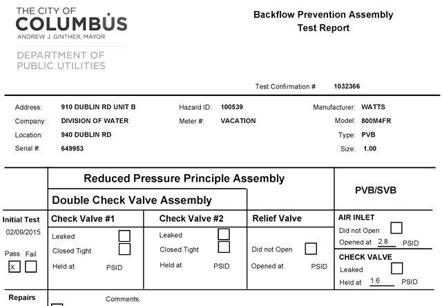 Sample Test Form Image