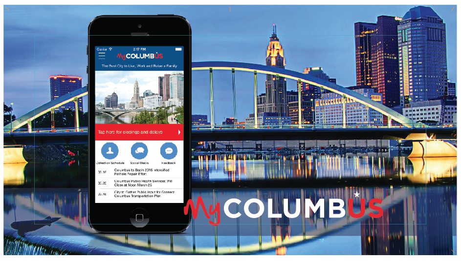 MyColumbus App with skyline background
