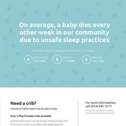 Safe Sleep Materials Crib Info Card